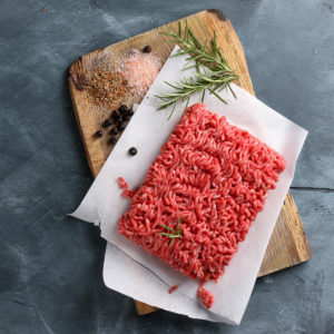 Minced meat on butcher paper