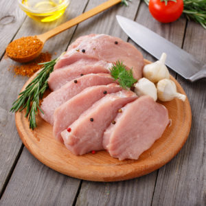 Raw pork steaks